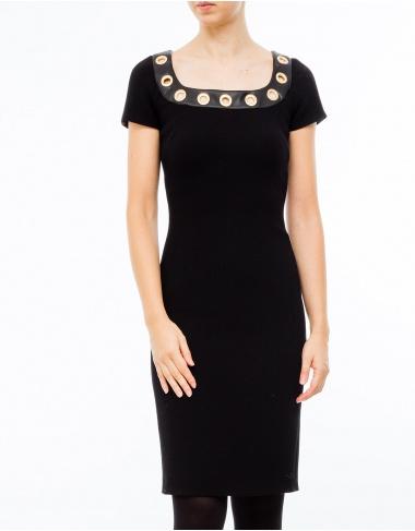 moda-50 Vestido cuello piezas metálicas BOUTIQUE MOSCHINO