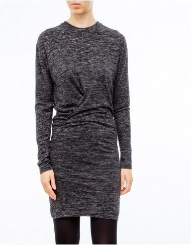 moda-50 WILDER Vestido ml frunce-gris ISABEL MARANT ETOILE