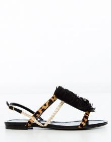 Sandalia flecos y print JAIPUR - negro VISCONTI & DU RÉAU