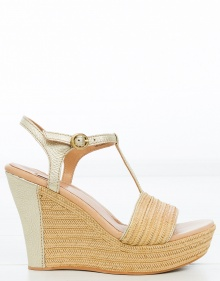 Golden raffia sandals UGG