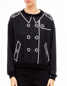 Drawn button long sleeve top BOUTIQUE MOSCHINO