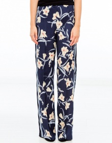 Pantalón flores franja lateral - marino TWIN-SET