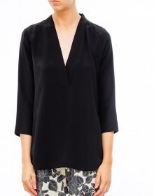 Blusa seda cuello pico - negro TWIN-SET