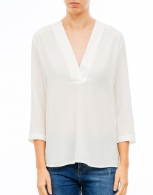 Blusa seda cuello pico - Blanco TWIN-SET