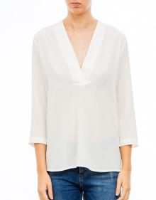 Blusa seda cuello pico - Blanco TWIN-SET