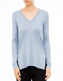 V-neck cashmere and silk sweater-Light blue TWIN-SET