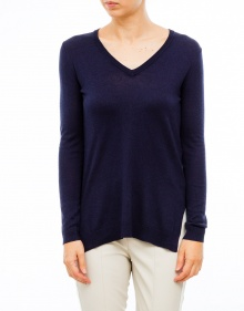 V-neck cashmere and silk sweater-Navy TWIN-SET