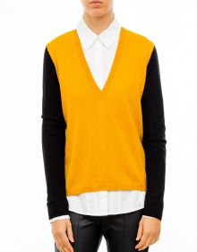 Thin V-neck tricolor jumper - Yellow TWIN-SET