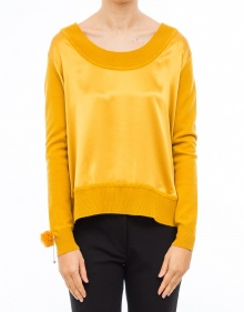 Knitted and silk jumper - Yellow TWIN-SET