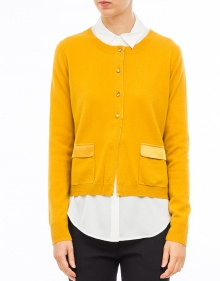 Swarovsky buttons cardigan-Yellow TWIN-SET