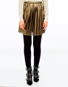 MANDA lame pleated skirt - Gold ISABEL MARANT ETOILE