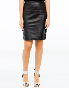 Embroidered leather skirt valance THE KOOPLES