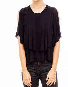 Frilled top - Black IRO