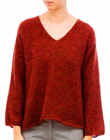 V-neck mohair sweater-Brick MASSCOB