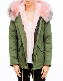 Haired short parka - Pink DUCIE