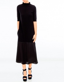 Silk and cashmere long dress - black