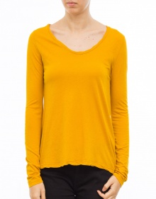 Long sleeved curly v-neck t-shirt AMERICAN VINTAGE