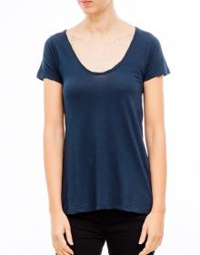 Short sleeved curly v-neck t-shirt AMERICAN VINTAGE