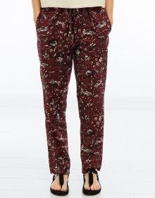 ALKA - Printed cotton trousers - burgundy ISABEL MARANT ETOILE