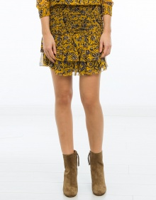 BRINLEY - Printed silk skirt - yellow ISABEL MARANT ETOILE
