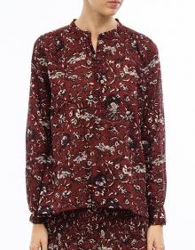 AMARIA - Printed cotton blouse - burgundy ISABEL MARANT ETOILE