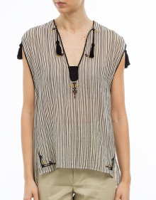 C/JUDITH Top rayas y bordaditos crudo ISABEL MARANT ETOILE
