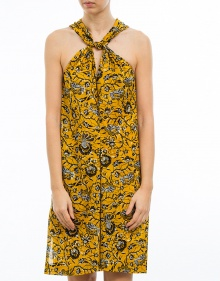 ABBA - Vestido algodón estampado - amarillo