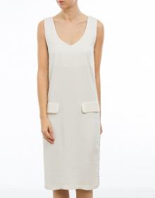 C/Vestido creppe piezas metálicas - blan TWIN-SET