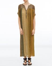 Vestido túnica largo lino tricolor MASSCOB