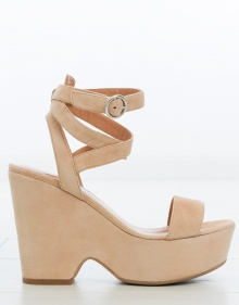 Suede platform sandals - ecru TWIN-SET