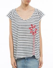 T-shirt mc over rayas palmera THE HIP TEE
