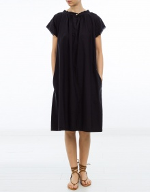Oversized cotton dress - navy blue AVN