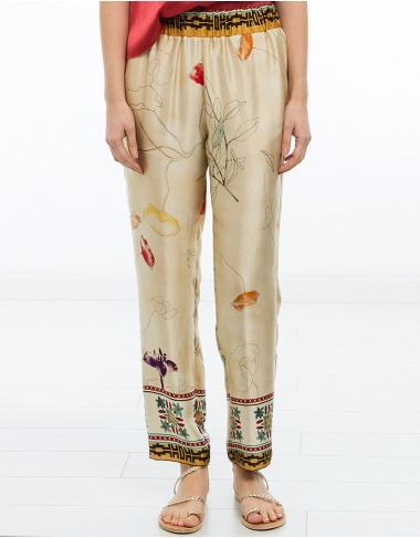 pantalones Pantalón seda estampada FORTE FORTE