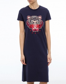 Printed tiger dress - navy KENZO