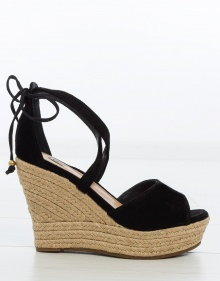 REAGAN esparto wedge suede sandals UGG