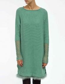 Vestido bajos marabú - verde TWIN-SET
