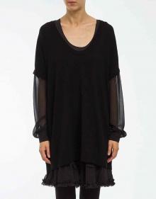 Vestido mangas y bajo gasa - negro TWIN-SET
