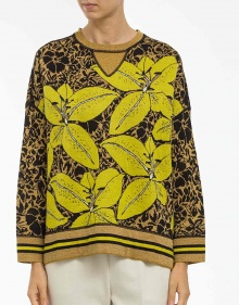 Printed jacquard oversized sweater