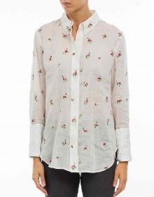 ULIANA - Camisa  ramio bordado - blanco
