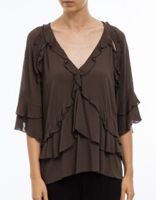 Ruffled top ABBY - anthracite