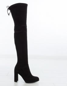 HILINE strech suede boots - black