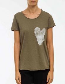 C/T-shirt corazón contraste-verde THE HIP TEE