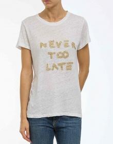 C/T-shirt NEVER TOO LATE-blanco THE HIP TEE