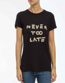 C/T-shirt NEVER TOO LATE-negro THE HIP TEE