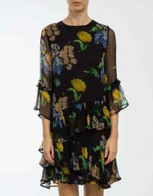 Gauze printed dress - black GANNI