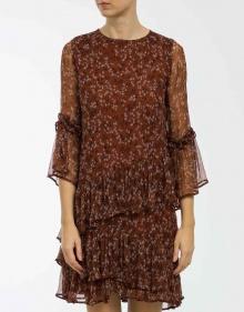 Gauze printed dress - brown GANNI