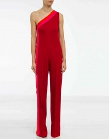 Asymmetric bicolor stripe jumpsuit - red GOLDEN GOOSE DELUXE BRAND