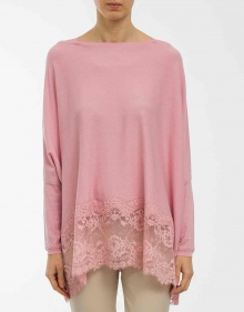 C/Poncho algodón detalle encaje - rosa TWIN-SET