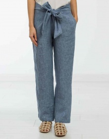 Linen trousers with knot - blue MASSCOB