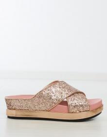 Sandalia SECRET plataforma tiras glitter - rosa ASH